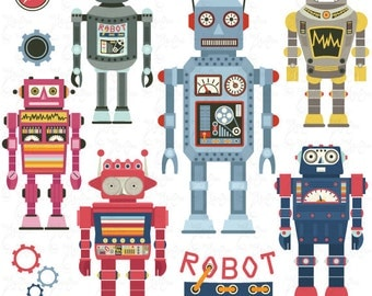 "Robots Clipart pack ""ROBOT CLIP ART"",Vintage Robot,Cute Robots,Robots, Funny Robot perfect for scrapbooking,invitations,party card Rb001"