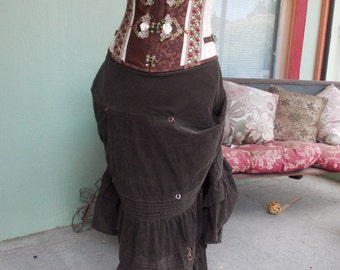Casual Corduroy: Upcycled Steampunk Bustle Skirt with Copper Clasps Women's SIZE LARGE
