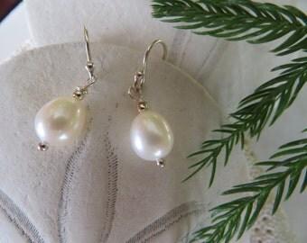 Freshwater Pearl Earrings, Sterling Silver Earrings, June Birthstone Earrings, 30th Wedding Anniversary Earrings, White Lotus Pearl Earrings