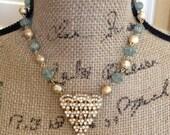 Repurposed vintage buckle, assemblage, jewelry, necklace, rhinestone, blue, gold, art deco, geometric, something blue, statement, aqua