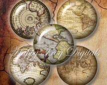 Antique maps - 12, 14, 16, 18, 20 mm circles - Digital Collage Sheet - 247 HFD - Printable Download - Instant Download