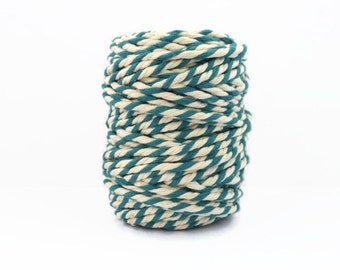 Chunky Teal Baker's Twine 20m - Extra thick Eton Blue Cotton Twine - 4mm Diameter