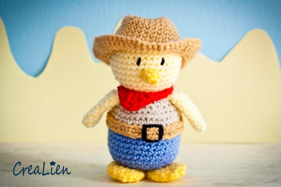 Instant Download! Crochet pattern PDF Cowboy Billy | Dressed Yellow duck / chick with clothing hat scarf belt | toy / doll / amigurumi
