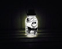 Jack Skellington Style 2, Nightmare Before Christmas, Mason Jar Solar Light, Hand Painted Mason Jar, Hanging Lantern, Quart Size, Outdoor