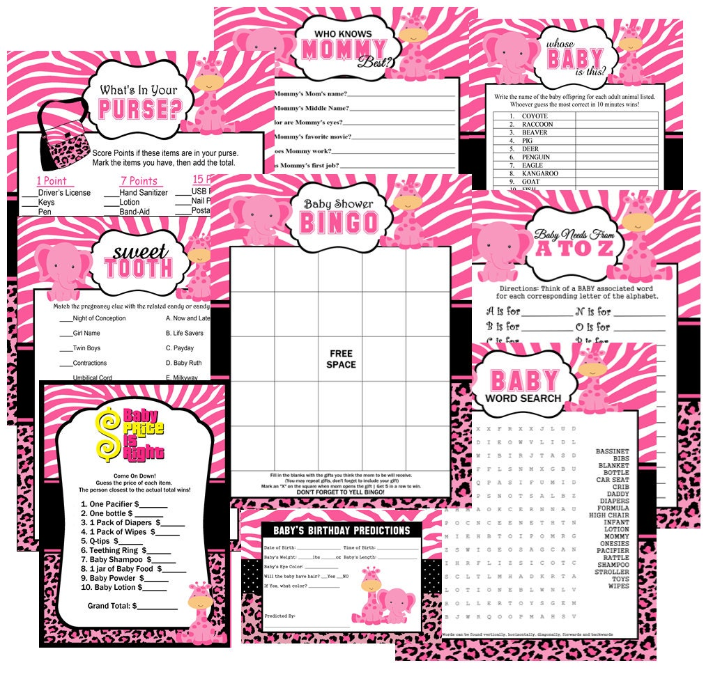 pink safari baby shower party games games baby shower