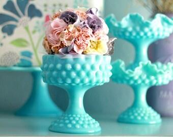 Turquoise Blue Milk Glass Pedestal / Aqua Hobnail Compote / Candy Dish Bowl Pedestal / Candy Dish Stand Wedding Dessert Buffet Bar Candy Bar