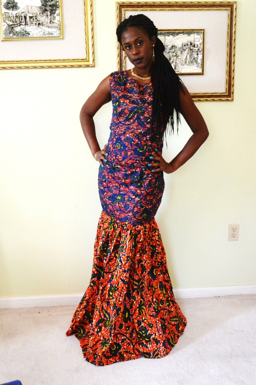 African dress blue lace and african ankara fabric long dress for African lace wedding dress