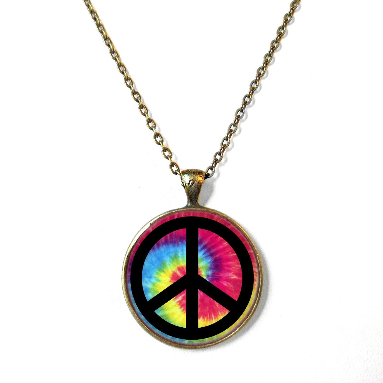Tie Dye Peace Sign Bronze Necklace Pop Culture Jewelry