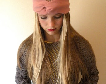 Headwrap Turban Headband  Womens Fashion Accessory Hair Band Pink Chiffon