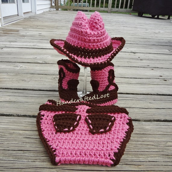 Newborn Baby Crochet Cowgirl Cowboy Hat Boots by ...