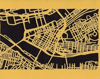 Downtown Pittsburgh -- cut paper map (original)