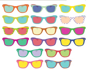 INSTANT DOWNLOAD Sunglasses Clip Art (Royalty Free) Retro Vintage Summer Shades Wayfarer Style