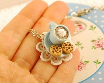 coffee and cookies necklace - chocolate chip - food jewelry