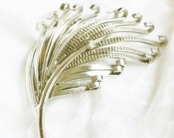 Vintage Marvella Signed Silver Early Modernist Interpretation Leaf Brooch Pin, Minimalist Style