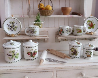 Botanic Eden Fruits  Dollhouse Miniature Canisters