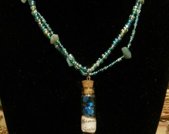 Mermaid Scales **VERSION 2** BEADWORK Bottle Charm Necklace