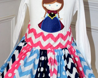 chevron skirt ONLY blue navy and pink chevron and polkadot skirt birthday skirt girls skirt girl skirt toddler skirt Anna Frozen outfit