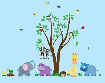 Jungle Tree WALL DECAL Reusable Fabric Wall Decal, Childrens Tree Decal - N110