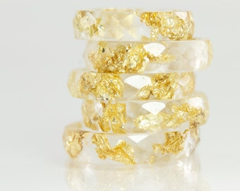 Resin Ring - Clear Eco Resin Faceted Ring with Gold Flakes
