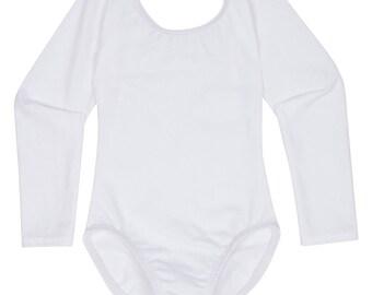 WHITE Toddler & Girls Long Sleeve Ballet Dance Leotard