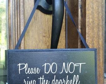 Please DO NOT ring the doorbell...Baby Sleeping Sign