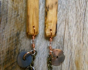 E60 Steampunk Upcycled Wood and Antique Watch Gear Cluster Earrings -- FREE SHIPPING