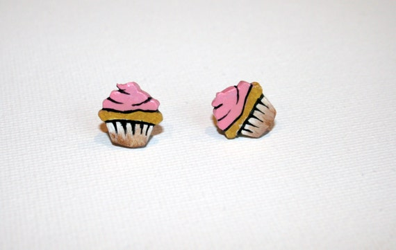 Miniature Cupcake Post Earrings - Pink Frosted Cupcakes - Handpainted Polymer Clay