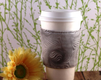 CLEARANCE / Fabric Coffee Cozy / Gray Sparkle Swirl Lines Coffee Cozy / Gray Coffee Cozy / Coffee Cozy / Tea Cozy