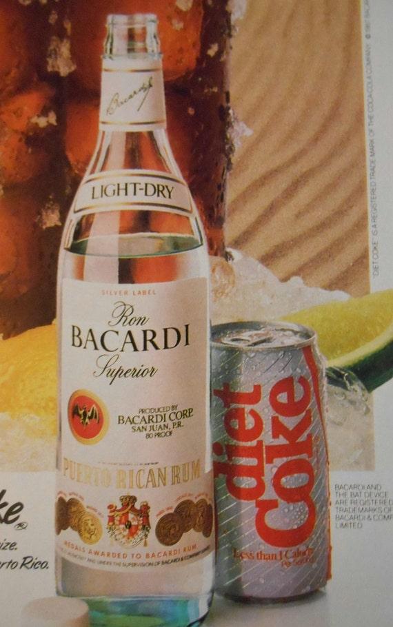 1989 Drink Ad Bacardi Rum Amp Diet Coke Beach Scene Original