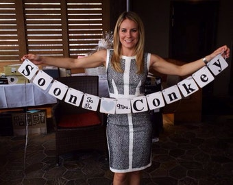 Bridal Shower Decoration Bridal Shower Banner Soon To Be Mrs. Banner Bachelorette Party CUSTOMIZE Your name Photo Prop You pick colors