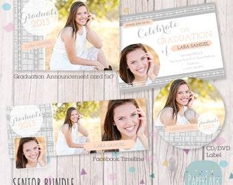 Senior Bundle - Announcement Card, Timeline and cd/dvd label - Photoshop templates - LG028 - INSTANT DOWNLOAD