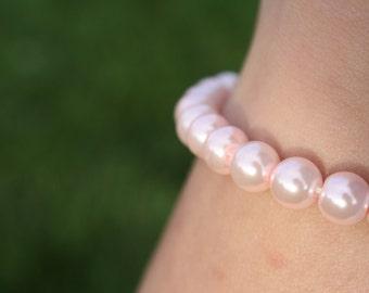 Light Pink Glass Pearl Bracelet (3006)