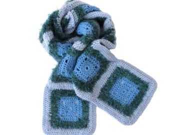 Winter Crochet Scarf with Granny Squares in Blue and Green (59.8'' x 6.3'')