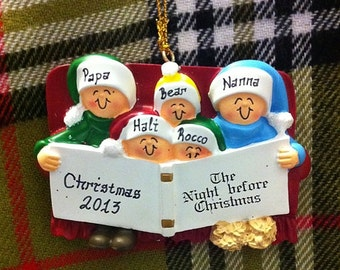 Personalized Christmas Ornament Family of 5 Night Before Christmas - Family Ornament- Gift for Mom, Grandma, or Family Friends