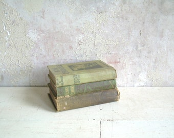 Antique Book Bundle Collection Shades of Mossy Green 3 Vol. 1890's-1915