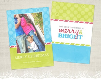Christmas Card Template for Photographers - 5 x 7 Profile Flat Card - Merry & Bright