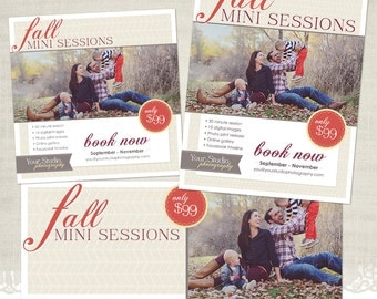 Fall Marketing Templates for Photographers - Mini Session Flyer, Blog Board, & Facebook Timeline - BDL08