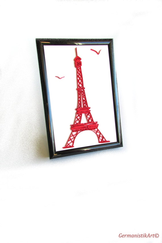 Small Eiffel Tower Wall Decor : Paris quilling miniature the eiffel tower wall art quilled