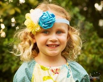 Blue and Yellow Headband, Chevron Headband, Baby Girl Headband, Infant Headband, Girl Headband, Teen Headband, Chevron Headband, Gift Idea