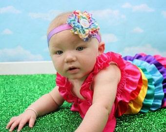 Daddy's Girl Headband, Rainbow Headband, Rainbow Baby Gift, Newborn Headband, Newborn Photo Prop, Baby Shower Gift, Flower Headband