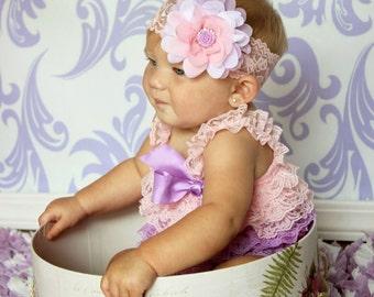 Pink Baby Headband, Pink Lavender Headband, Lavender Baby Headband, Spring Headband, Baby Shower Gift, Newborn Photo Prop, Adult Headband