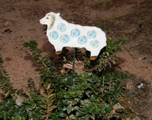 Ceramic Sheep Stick- Decor- Planter stake- Herb signs-Garden-Bookmark-Summer-Mums day-Blue flowers-Office-Home