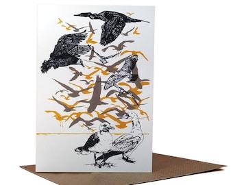 Flock of Seagulls // A6 Greeting Card, Blank, seaside