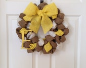 Yellow burlap wreath with monogram initial 15 inches