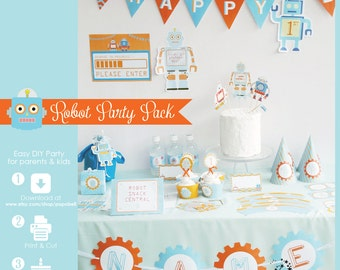 Robot Party Kit. Complete Set Robot Printables. DIY Robot birthday party for boys. Orange & blue theme colors. Personalized. Retro style.