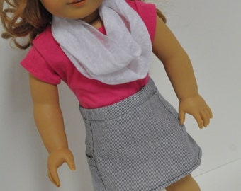 Chambray Striped A-Line Skirt with Side Pockets and Pink T-shirt with Infinity Scarf made to fit American Girl Doll 18 inch Doll Clothes