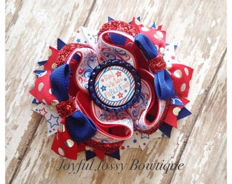 July 4th hair bow, Independence Day hair bow, Red white and blue hair bow, OTT hair bow