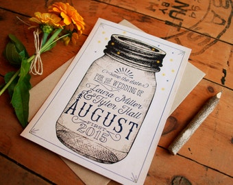 Mason Jar Save the Dates - Vintage Rustic Save the Date Cards - Woodsy Typographic Telegram Save the Dates - Printable or Printed