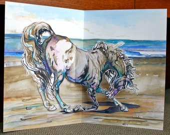 Horse and Seashore Thank You Pop Up Card