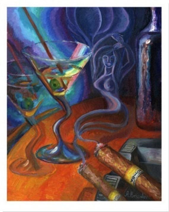 Drunk Illusions PRINT or CANVAS Art,  Bar Art,  Kitchen Wall Decor, Martini Glass, Sexy Woman, Cigar